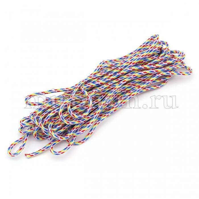 Шнур Паракорд Полиэстер, подходит для плетения браслетов, Полосатый, Цвет: Разноцветный, Размер: Диаметр 2мм, (УТ100024383)