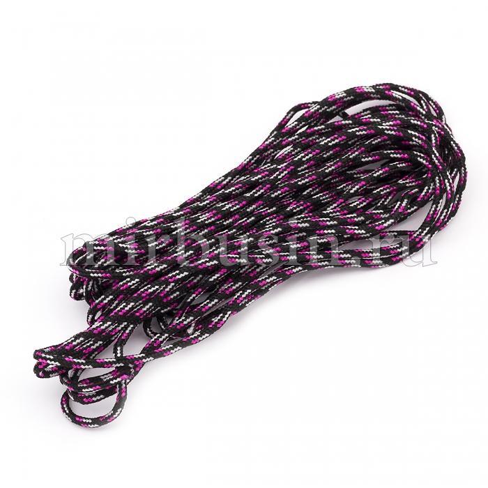 Шнур Паракорд Полиэстер, подходит для плетения браслетов, Полосатый, Цвет: Черно-розовый, Размер: Диаметр 2мм, (УТ100024384)