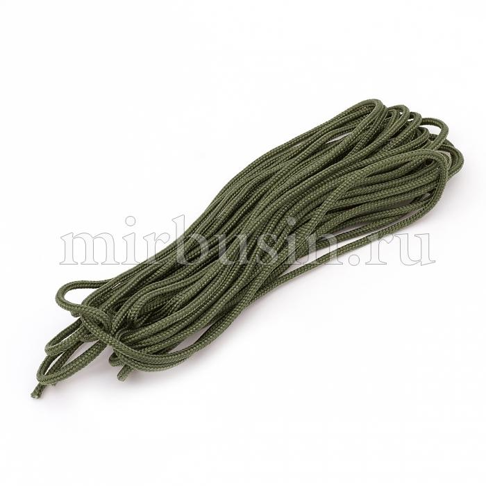 Шнур Паракорд Полиэстер, подходит для плетения браслетов, Цвет: Темно-оливковый, Размер: Ширина 2мм, (УТ100024395)
