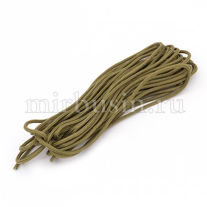 Шнур Паракорд Полиэстер, подходит для плетения браслетов, Цвет: Хаки, Размер: Ширина 2мм, (УТ100024396)