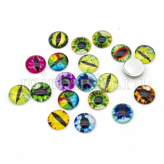 Кабошоны Глаз Стеклянные, Круглые, Цвет: Микс, Размер: 14х5мм, (УТ100024411)