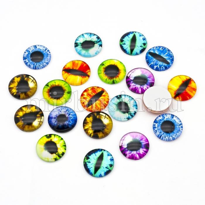 Кабошоны Глаз Стеклянные, Круглые, Цвет: Микс, Размер: 16х5мм, (УТ100024412)