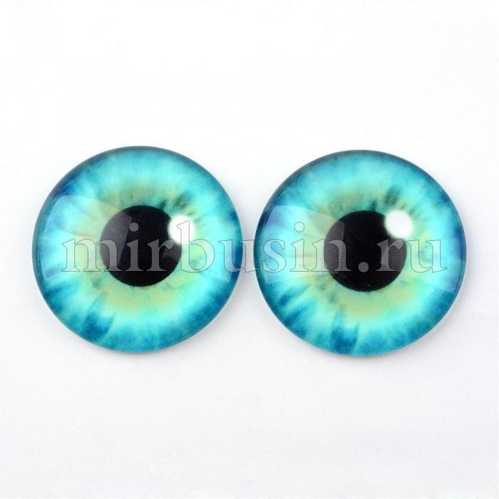 Кабошоны Глаз Стеклянные, Круглые, Цвет: Зеленый морской, Размер: 10x3.5мм, (УТ100024430)
