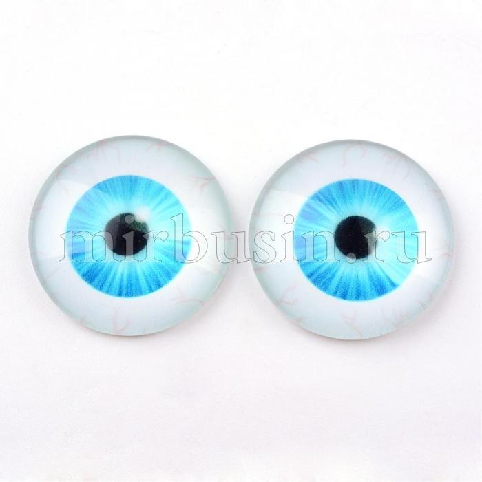 Кабошоны Глаз Стеклянные, Круглые, Цвет: Голубой, Размер: 10x3.5мм, (УТ100024431)