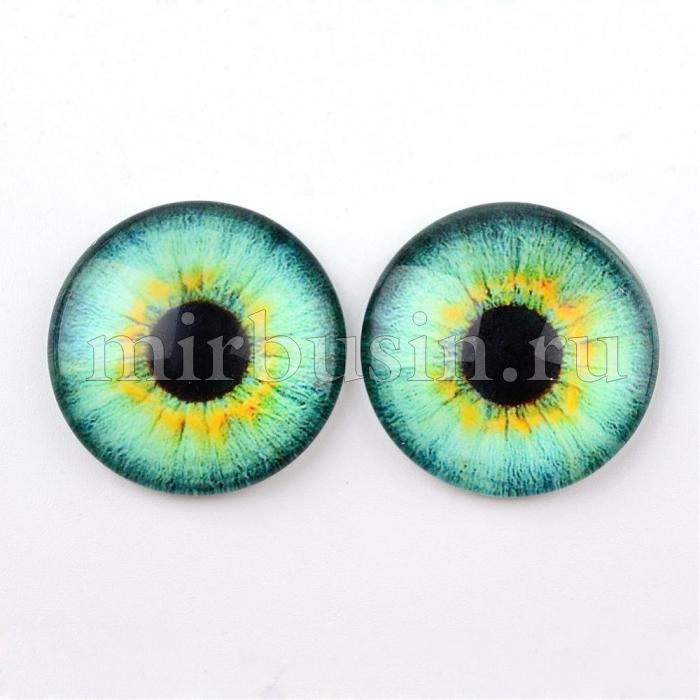 Кабошоны Глаз Стеклянные, Круглые, Цвет: Светло-зеленый, Размер: 10x3.5мм, (УТ100024432)