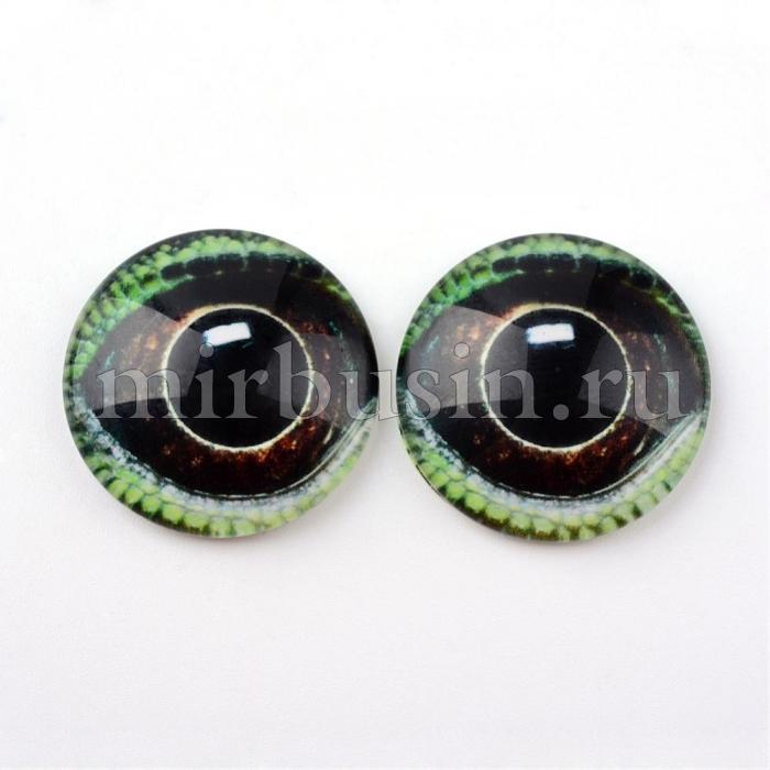 Кабошоны Глаз Стеклянные, Круглые, Цвет: Коричнево-зеленый, Размер: 10x3.5мм, (УТ100024434)