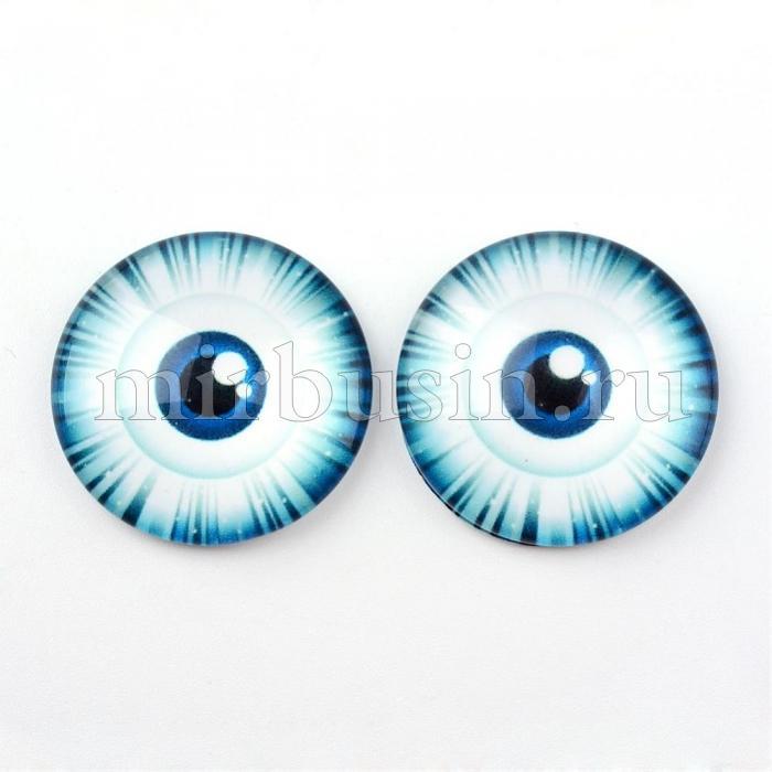 Кабошоны Глаз Стеклянные, Круглые, Цвет: Светло-синий, Размер: 10x3.5мм, (УТ100024439)