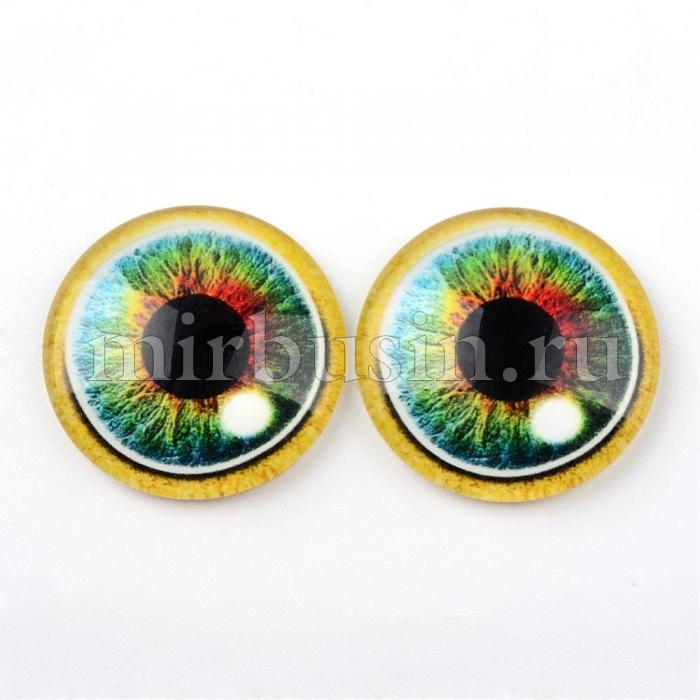 Кабошоны Глаз Стеклянные, Круглые, Цвет: Зеленый весенний, Размер: 10x3.5мм, (УТ100024440)