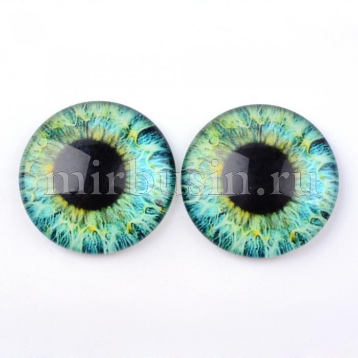 Кабошоны Глаз Стеклянные, Круглые, Цвет: Аквамарин, Размер: 10x3.5мм, (УТ100024442)
