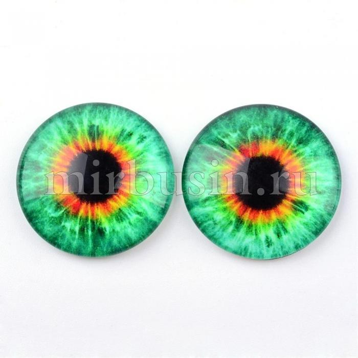 Кабошоны Глаз Стеклянные, Круглые, Цвет: Зеленый весенний, Размер: 10x3.5мм, (УТ100024443)