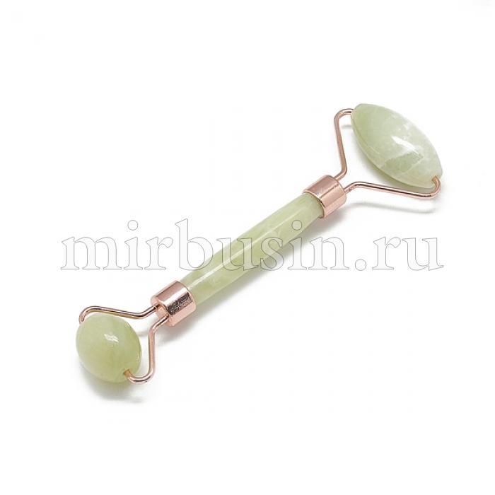 Массажер для лица Нефрит + Латунь, Цвет: Зеленый, Цвет металла: Розовое Золото, Размер: 13.5~15.3x4~6x2~2.05см, (УТ100024470)