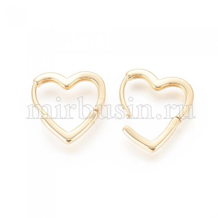 Серьги-кольца, ил Латуни, Сердце, Цвет: Золото, Размер: 16.5х16x2мм, Штифт: 1мм, (УТ100024552)